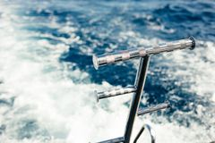 Sailing yacht waves moving with open sail in the sea. Sailing yacht moving with open sail in the sea Royalty Free Stock Photo