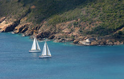 Sailing yachts. A pair of sailing yachts in St Thomas royalty free stock photos