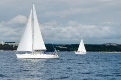 Sailing yachts. Sailing ships on summer regatta Royalty Free Stock Image