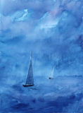 Sailing yachts. Higly detailed scan of a watercolor paint on structured paper Stock Photography