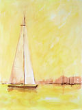 Sailing yachts. Higly detailed scan of a watercolor paint on structured paper Stock Images