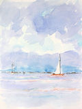 Sailing yachts. Higly detailed scan of a watercolor paint on structured paper Stock Photo
