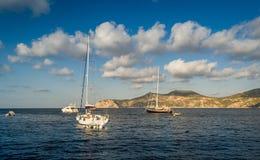 Sailing yachts anchorage Stock Photography