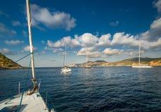 Sailing yachts anchorage Stock Photos