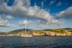 Sailing yachts anchorage Royalty Free Stock Image
