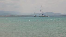 Sailing yachts anchored near coast, 4k stock footage