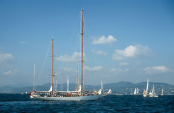 Sailing yachts in the Bay of Saint Tropez Stock Image