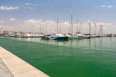 Sailing yachts and boats are in the harbor Palma de Mallorca. Stock Images