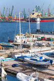 Sailing yachts and boats stand in port of Varna, Bulgaria Stock Photo