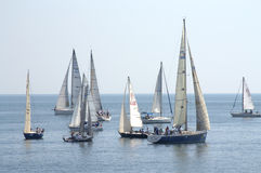 Sailing yachts in calm sea Stock Images