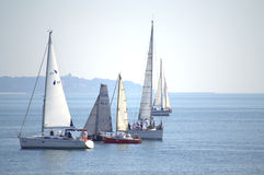 Sailing yachts in calm sea Royalty Free Stock Photography