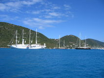 Sailing yachts in Caribbean paradise Royalty Free Stock Photography