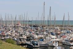 Sailing yachts. City Groemitz, coast of Baltic Sea am 09.06.2016. Travel, holiday at sea. Landscape Stock Images