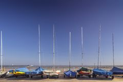 Sailing Yachts On Coastal Yard royalty free stock photo