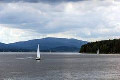 Sailing yachts on Lipno, Czech Republic. Royalty Free Stock Photos
