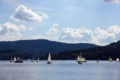 Sailing yachts on Lipno lake, Czech Republic. Sailing yachts on Lipno lake in Czech Republic Royalty Free Stock Images
