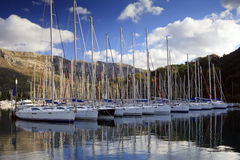 Sailing yachts in a marina Royalty Free Stock Photos