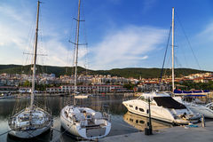 Sailing yachts on the marina Stock Photo