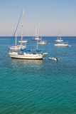 Sailing yachts in the Mediterranean Sea. Summer on the yachts on the Mediterranean Sea coast Royalty Free Stock Image