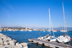 Sailing yachts moored in port of Ajaccio Stock Images