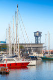 Sailing yachts are moored in Port of Barcelona Stock Photography