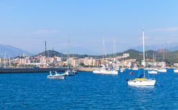 Sailing yachts and motorboats moored in port of Ajaccio Stock Images