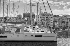 Old Vieux Port in Marseilles, France. Sailing yachts in the old port of Marseille. Black and white photography Royalty Free Stock Image