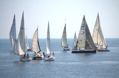 Sailing yachts in open sea Stock Photos