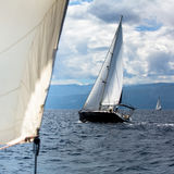 Sailing yachts the participants in regatta in the Aegean sea. Luxury. Stock Photography