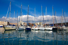 Sailing, yachts or parts of the vessels. Mediterranean Sea. Stock Images