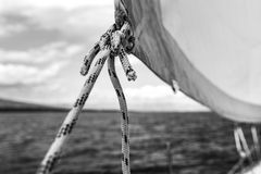 Sailing, yachts or parts of the vessels. Mediterranean Sea. Stock Image