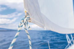 Sailing, yachts or parts of the vessels. Mediterranean Sea. Stock Photos