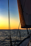 Sailing, yachts or parts of the vessels. Mediterranean Sea. Royalty Free Stock Images