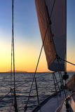 Sailing, yachts or parts of the vessels. Mediterranean Sea. Royalty Free Stock Photo