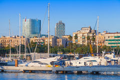 Sailing yachts and pleasure boats in Barcelona Port Royalty Free Stock Photo