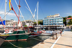 Sailing yachts and pleasure boats moored in Balchik Royalty Free Stock Photo