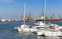 Sailing yachts and pleasure boats in port of Varna Royalty Free Stock Photos