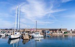 Sailing yachts and pleasure motor boats in Ajaccio Stock Image