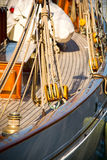 Sailing yachts' pulleys and ropes. View of old sailing yachts' pulleys and ropes Stock Images