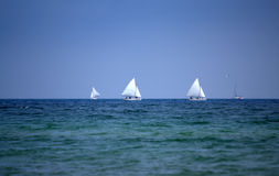 Sailing yachts race Royalty Free Stock Photos