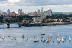 Sailing yachts regatta on river Royalty Free Stock Images