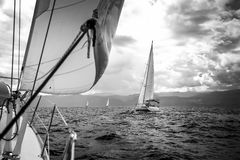 Sailing yachts in the sea in stormy weather. royalty free stock photography