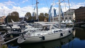 Sailing yachts at St Katherine's docks Stock Photo