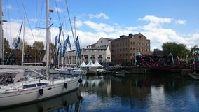 Sailing yachts at St Katherine's docks Royalty Free Stock Photography