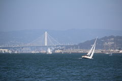 Sailingboat in front of the Golden Gate Bridge, San Francisco, California, USA Royalty Free Stock Photos