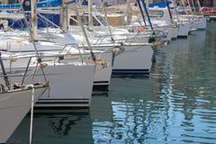 Sailingboats在港口 免版税库存照片