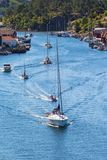 Sailingboats in a canal Stock Photography