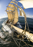 Sailingship view from bowsprit. A squaresailer seen from the bowsprit. Swedish tall ship, the brig Tre kronor af Stockholm underway on the Baltic Sea. Photo Stock Photography