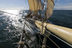 Sailingship view from bowsprit. A squaresailer seen from the bowsprit. Swedish tall ship, the brig Tre kronor af Stockholm underway on the Baltic Sea. Photo Royalty Free Stock Photography