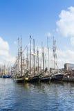 Sailingships i Rostock under Hanse seglar 2014 Arkivfoto